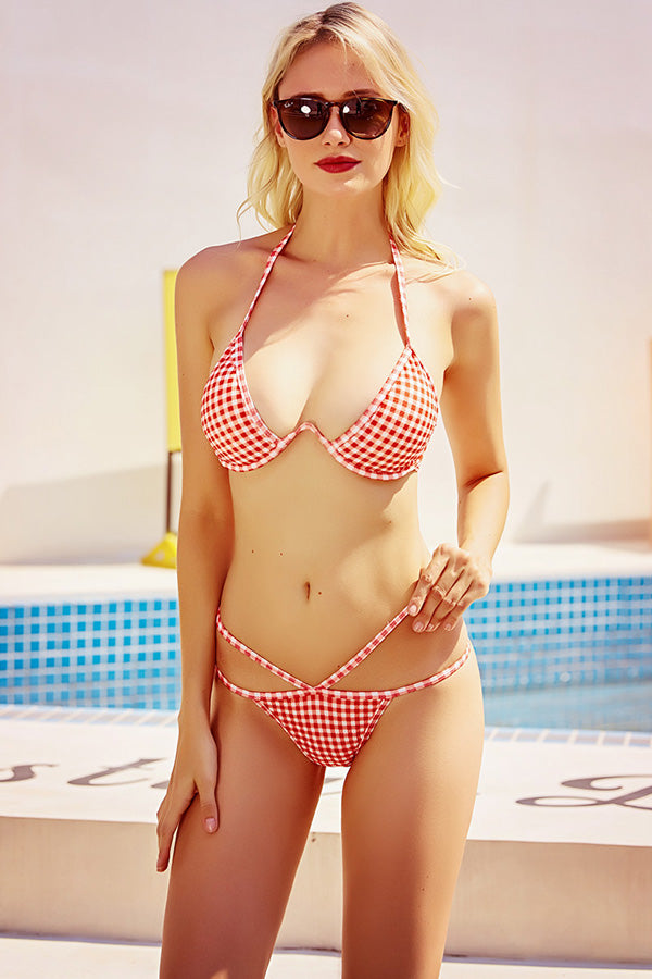 Lattice Pattern Print Bikini