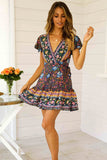 Deep-V Big Pendulum Print Dress