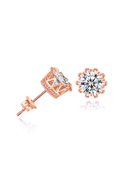 Flower Pattern Zircon Stud Earrings