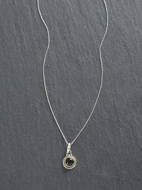Natural Labradorite Round Pendant Necklace