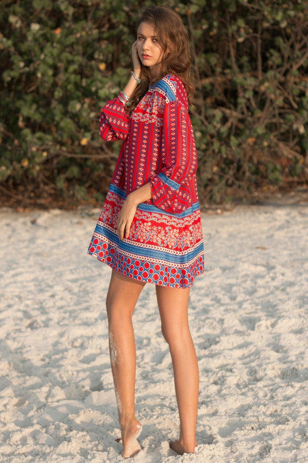 V-neck Loose Print Dress