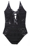 Black Lace Hollow Out Padded Maillot Swimsuit