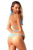 Sky Blue Braided Rope Strappy Bikini Swimsuit