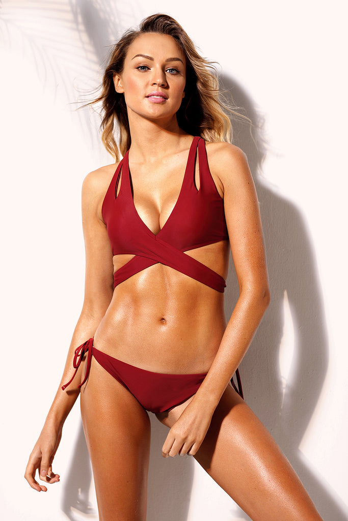 Red Convertible Wrap Bikini Two Piece Swimsuit