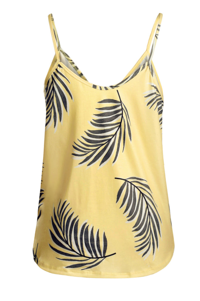 Yellow Tropical Plant Print Tank Top