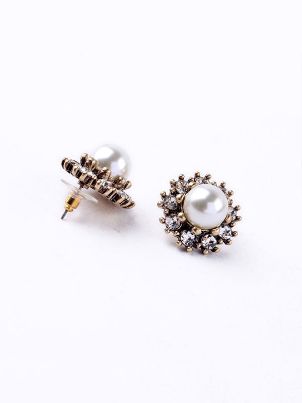 Round Small Pearl Earrings