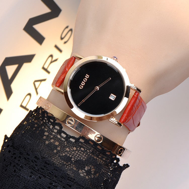 Ultra-thin Leather Strap Women's Watch