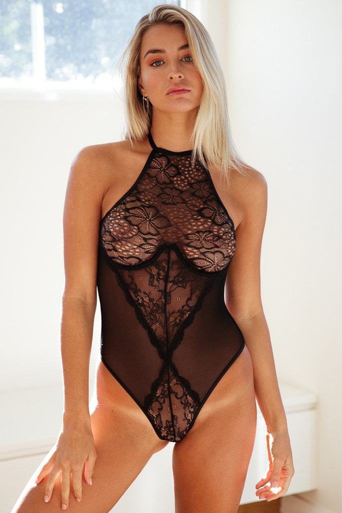 Black Floral Lace and Mesh Teddy Lingerie