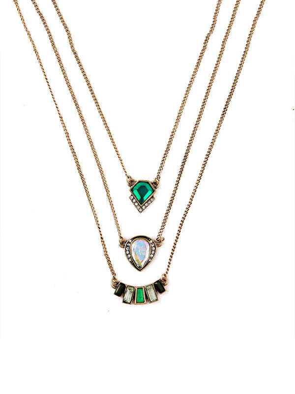 Three-layer Green Necklace