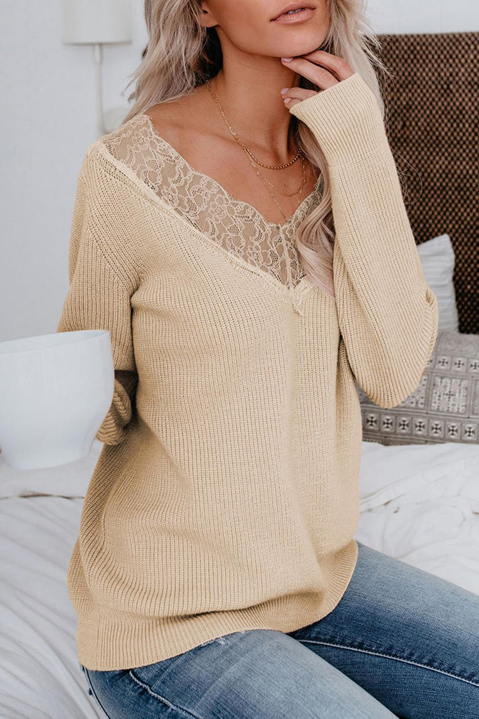 Khaki Lace Collar V Neck Ribbed Sweater