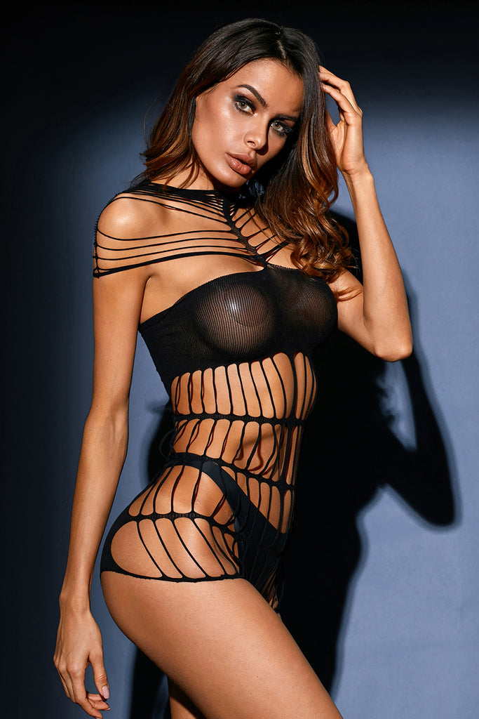 Black Strappy Cutout Sheer Mesh Teddy Lingerie