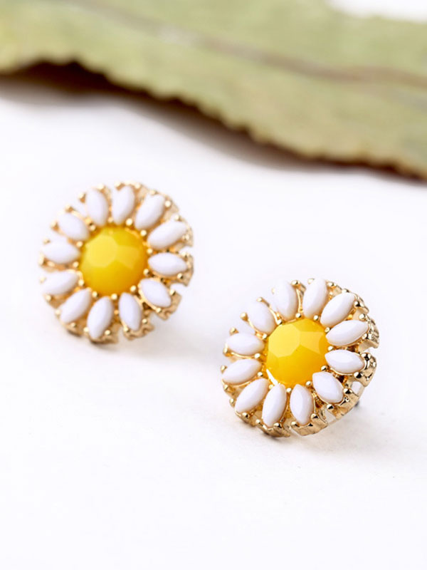 Sun Flower Pattern Earrings