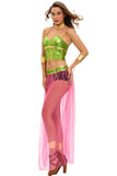 Green Pink 6pcs Slave Princess Costume