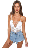 White Lace-up Front Lace Bodysuit