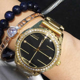 Durable Rhinestone Gold Stainless Steel Women's Watch