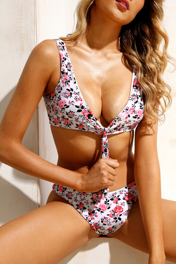 Bowknot Front Center Floral Bikini Swimsuit