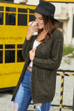 Olive Green Hollow Out Open Front Cardigan with Pockets