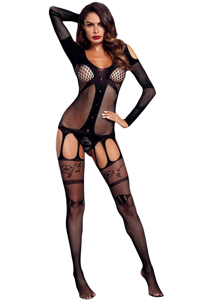 Long Sleeved Bustier Garter Open Crotch Bodystocking