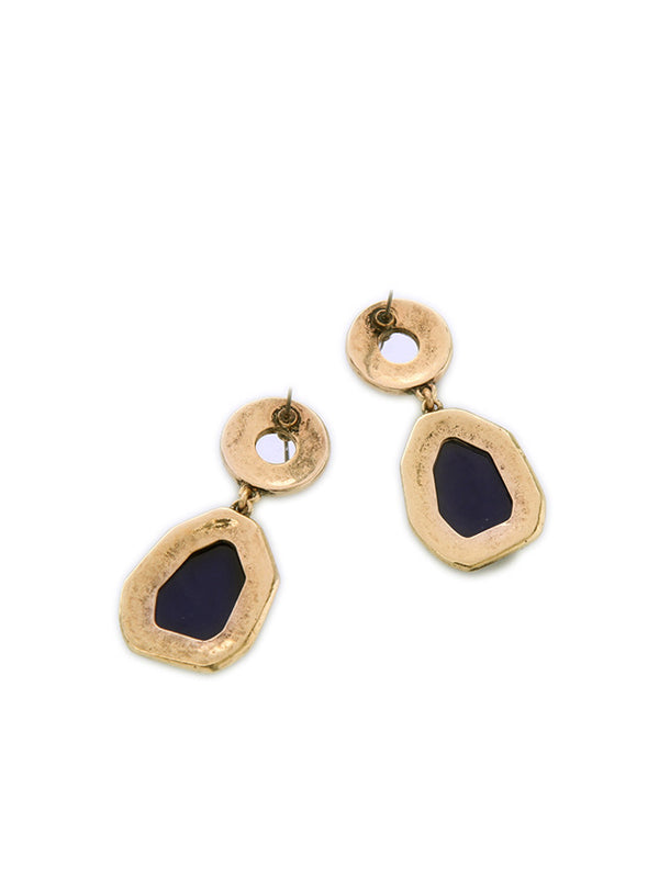 Broken Gold Gemstone Irregular Earrings