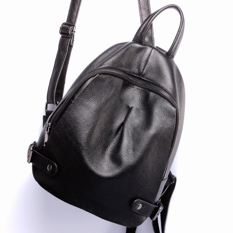 Fashion Black Genuine Leather Backpack