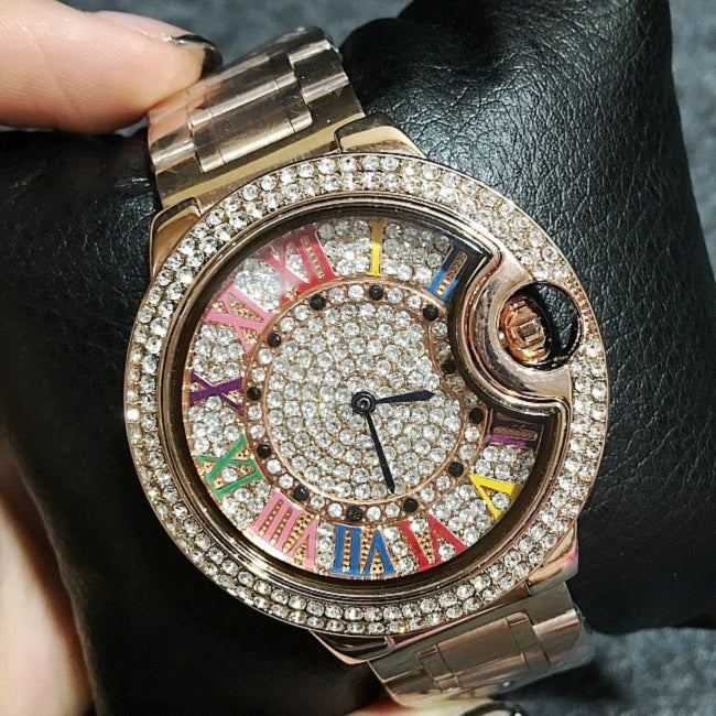 Colorful Stainless Steel Strap Women's Watch