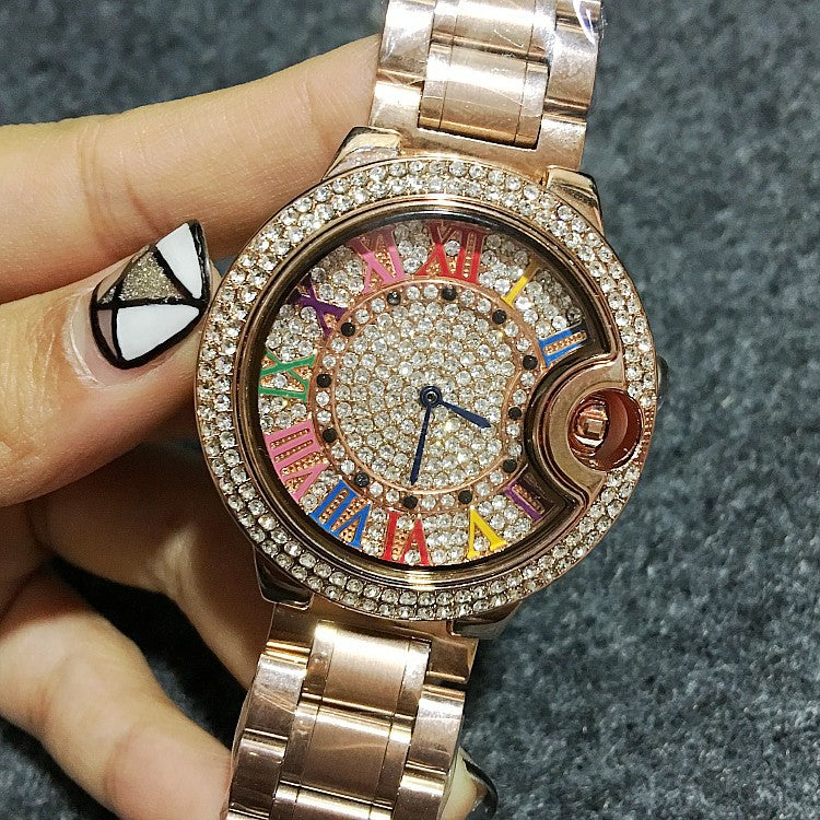 Colorful Roman Numerals Stainless Steel Women's Watch