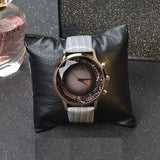 Large Dial Gray Leather Strap Women's Watch