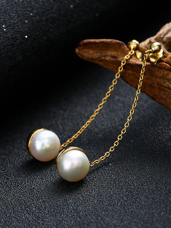 Pearl Insert Long Earrings
