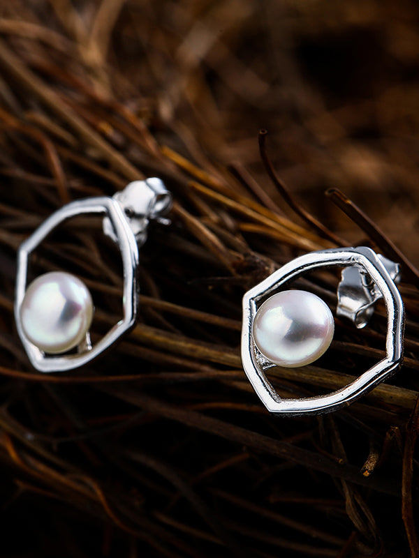 Simple Geometry Pearl Earrings