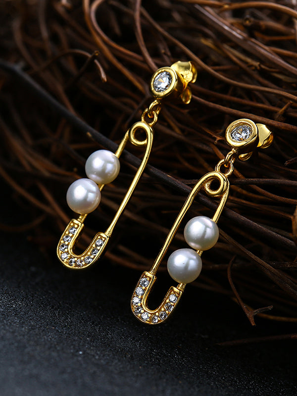 Diamond Clip Pearl Earrings