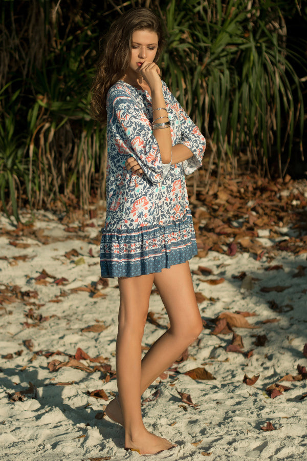 Mid-sleeve Loose V-neck Print Dress