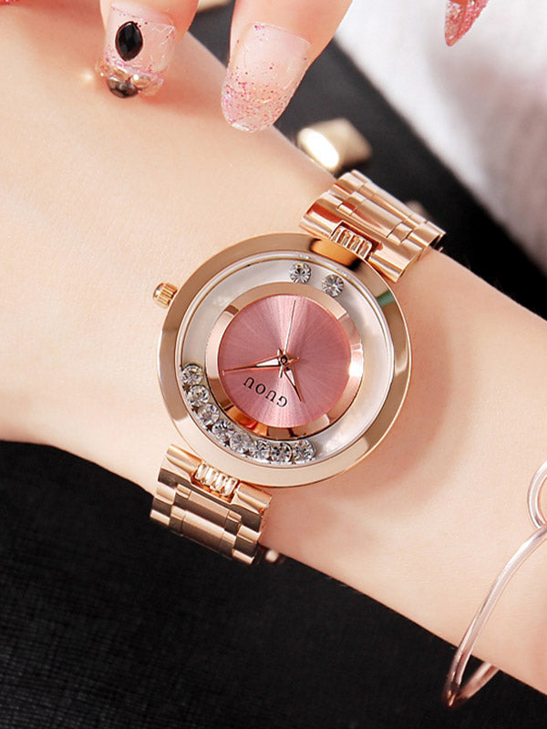 Women's Watch pink ultra-thin dial stainless steel strap simple watch