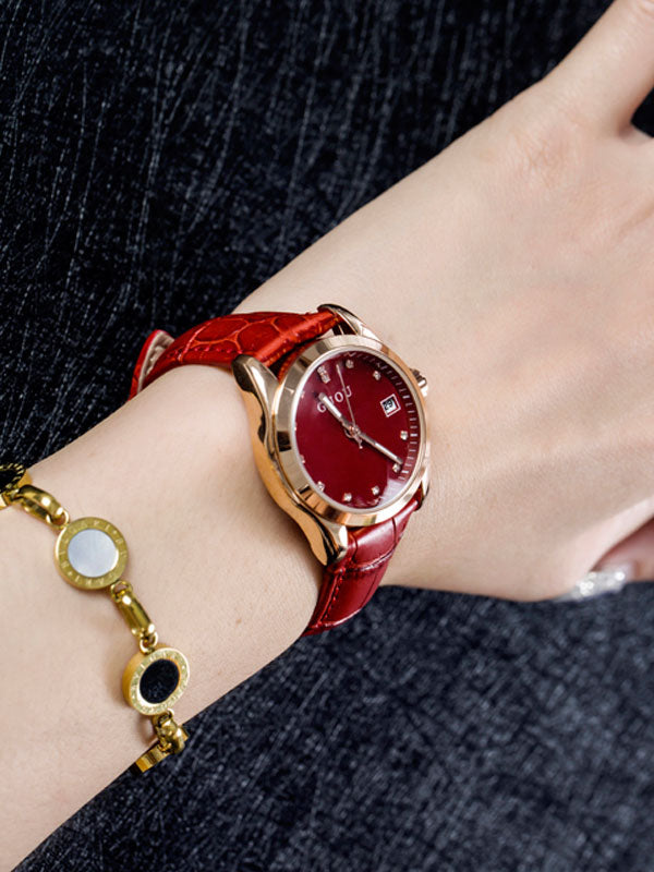 Women's Watch calendar dial Luminous Rhinestone Leather elegant watch