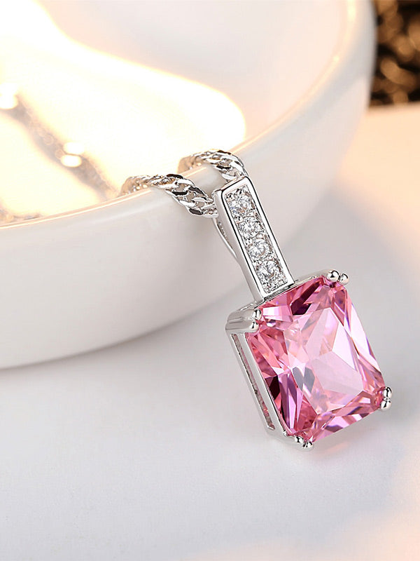 Pink Square Zircon Necklace