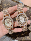 Full Diamond Oval Stainless Steel Watch