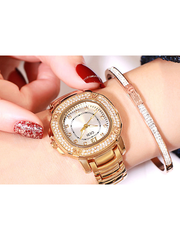 Oval Pattern Multi-color Alloy Watch