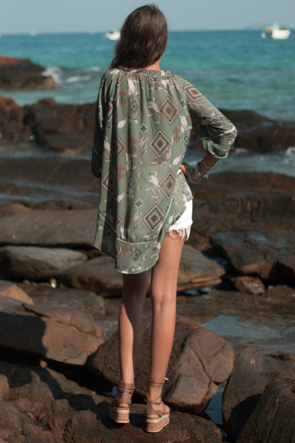 Square Print Long Sleeve Chiffon Shirt