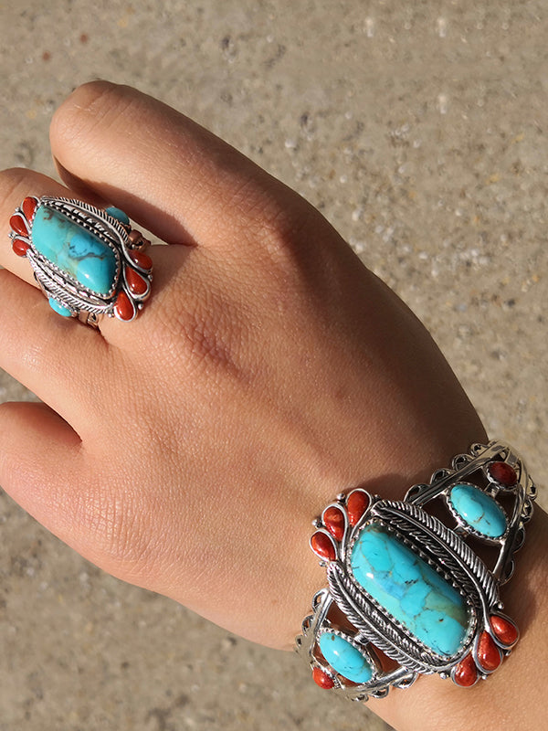 Natural Blue Turquoise&Red Coral Ring