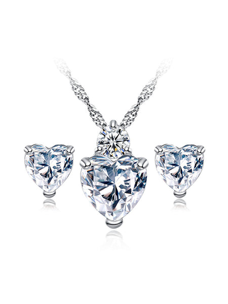 Sincerely Heart Crystal Zircon Necklace&Earrrings Set