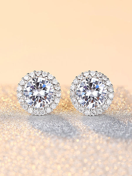Circular Drill Zircon Crown Stud Earrings