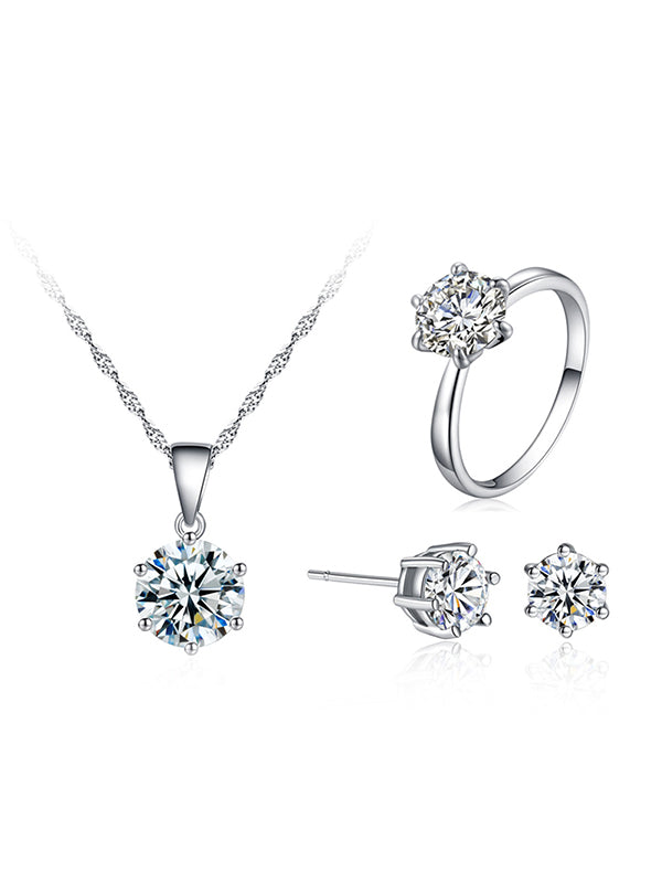Six-claw Zircon Set Ear Nail Necklace Ring Set