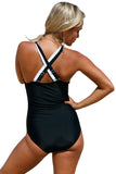 Black White Double Cross Strap One Piece Swimsuit