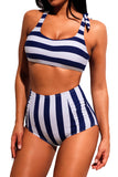 Navy Striped Tie Shoulder 2pcs High Waist Swimsuit