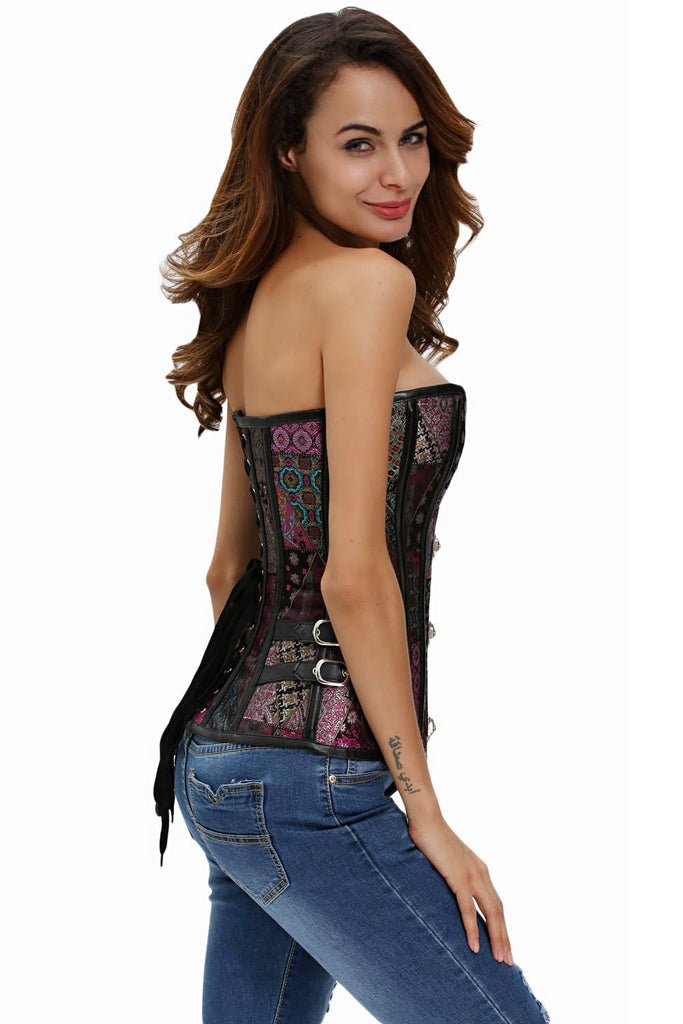 Leather Trim Lace Up Brocade Corset with Thong