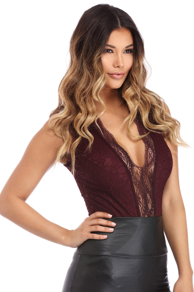 V Neck Hollow-out Lace Bodysuit