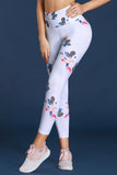 Discrete Print High Waist Sport Leggings in White