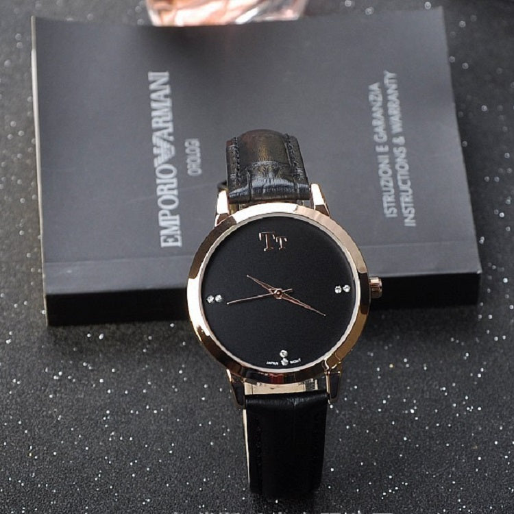 Rose Gold Frame Leather Strap Women's Watch
