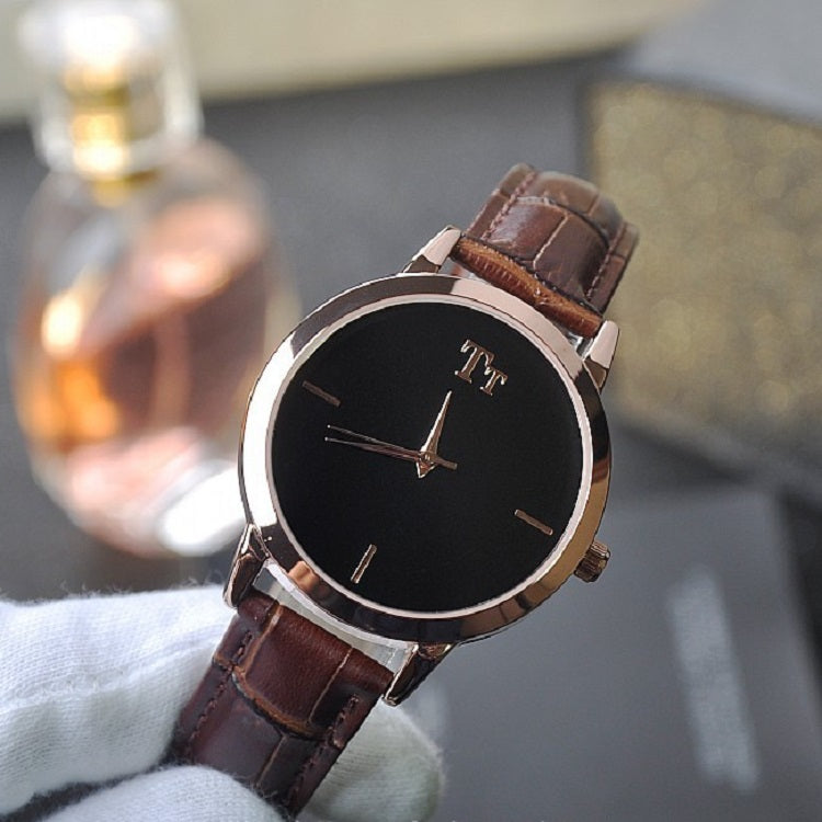 Simple Round Dial Leather Strap Women's Watch