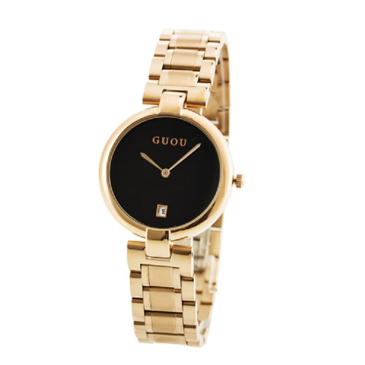 Women's Watch Gold black large dial Stainless Steel Strap elegant watch
