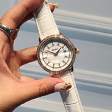 Beautiful Shell Leather Strap Elegant Watch